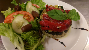 Grilled Vegetable Stack with Field Greens Salad